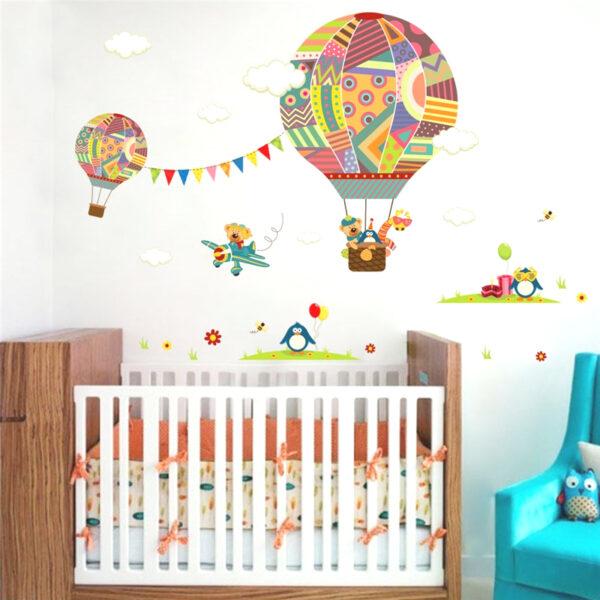 Sticker mural enfant - Animaux, montgolfière et avion