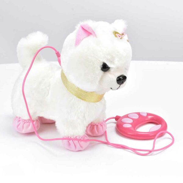 Jouet chien qui marche avec laisse - Couleur blanc et rose