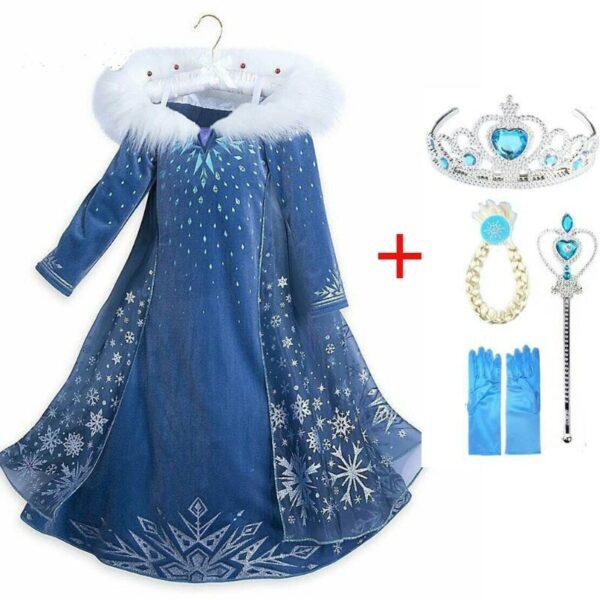 Robe reine des neiges avec les accessoires d'Elsa