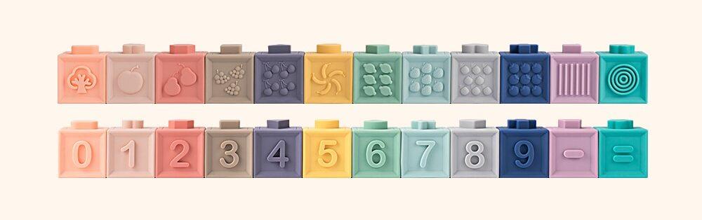 Lot 12 cubes à empiler pour bébé