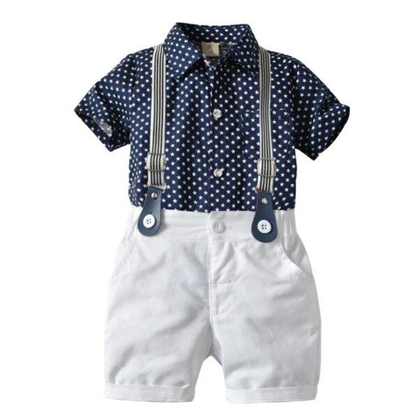 Ensemble bébé garçon bleu et blanc - Pantalon, chemise et bretelles