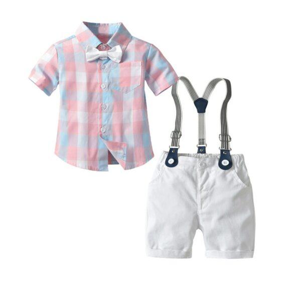 Ensemble bébé garçon - Chemise rose, pantalon blanc avec bretelles