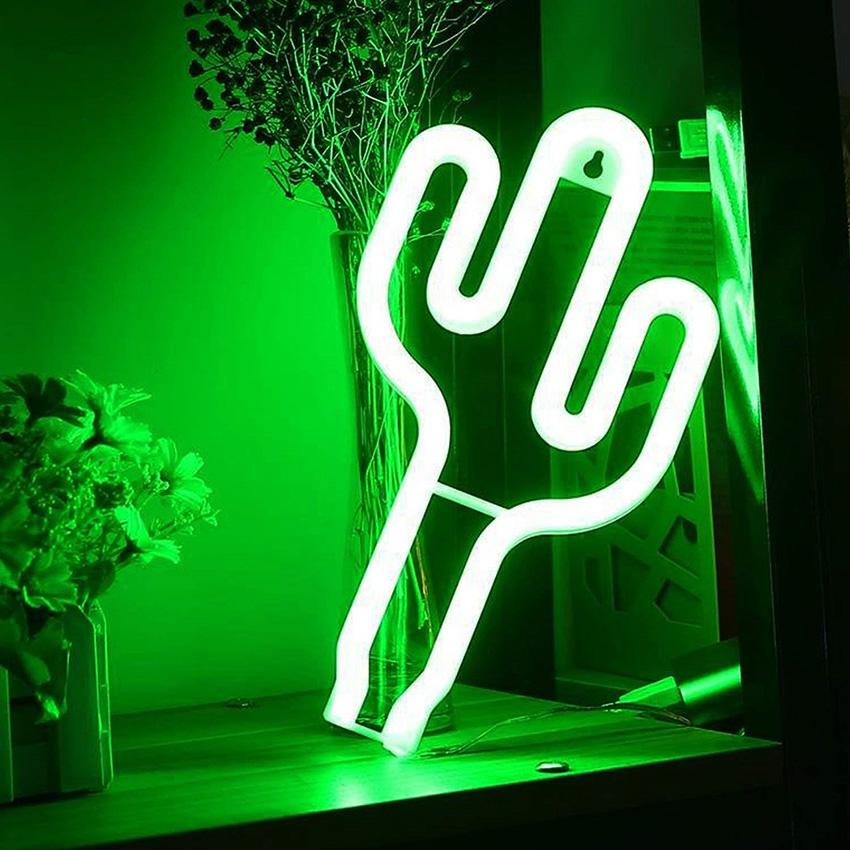 Néon cactus mural - Luminaire chambre enfant