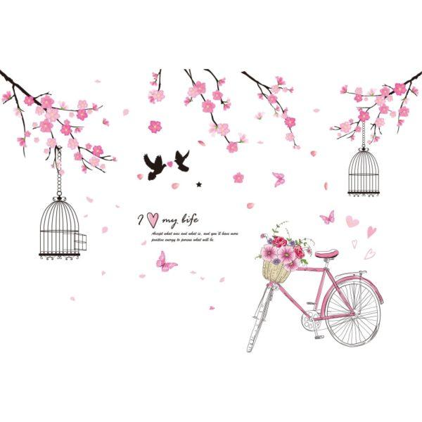 Stickers Vélo et Fleurs de Cerisier - Déco Chambre Fille