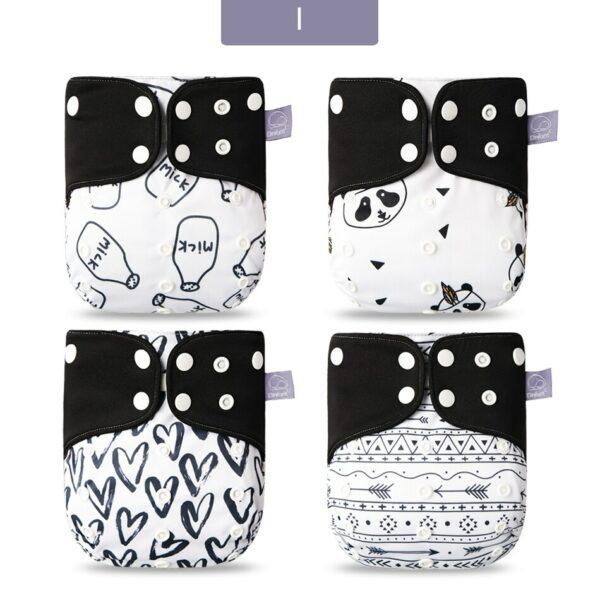 Couches lavables pour bébé - Couleur noir et blanc