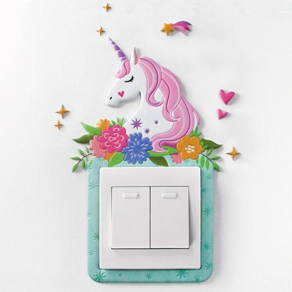 Sticker 3D interrupteur chambre fille - Licorne