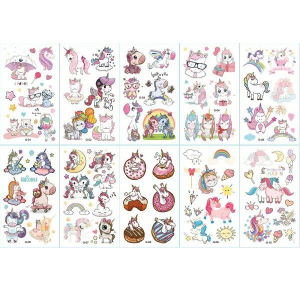 Tatouage éphémère enfant (lot de 10) - Licornes, Sirènes, Dinosaures, Noël, Robot, Halloween