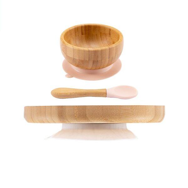 Lot vaisselle bambou pour bébé - Couleur beige